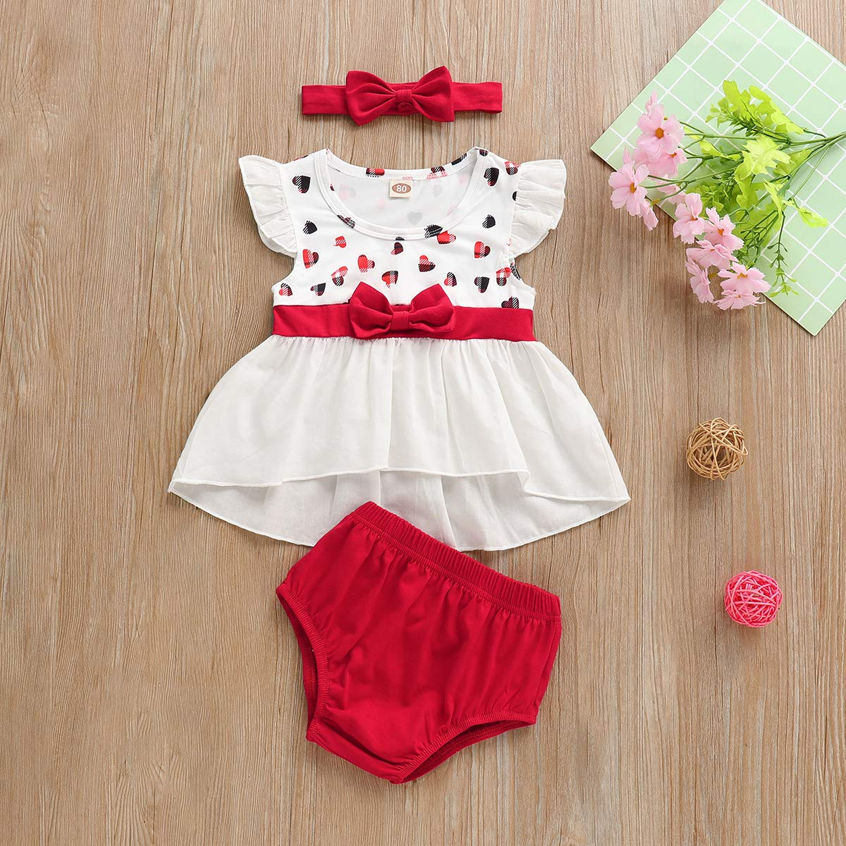 White, 100 Baby Girl Clothes Short Sleeve Summer Dress Outfits Pants Shorts 3Pcs Set for Infant and Toddler Baby 2-3T