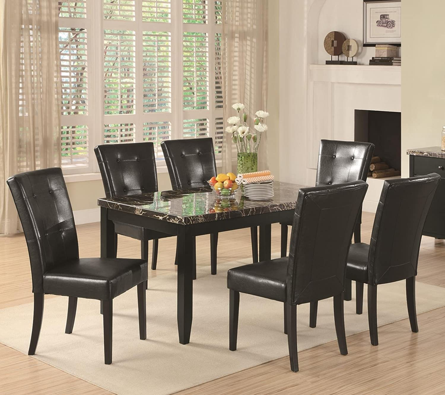 Amazon.com | 7 Piece Parson Dining Set Anisa Collection Coaster ...