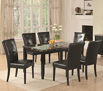 7 Piece Parson Dining Set Anisa Collection Coaster Black Leather