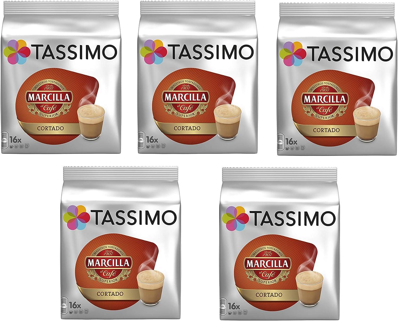 TASSIMO Marcilla Café Cortado - 5 paquetes de 16 cápsulas: Total ...