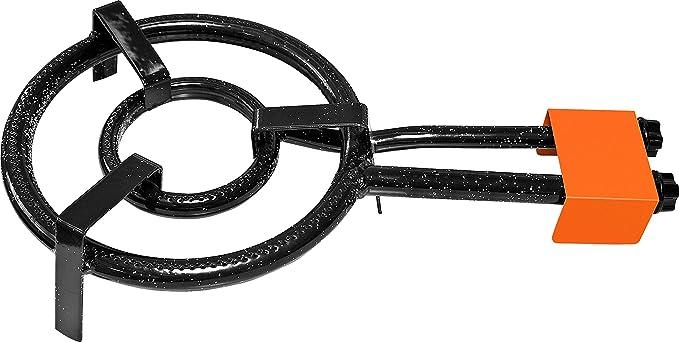 Garcima Paella Anillo Doble Quemador de Gas Natural, 30 cm, Negro, Juego de 6