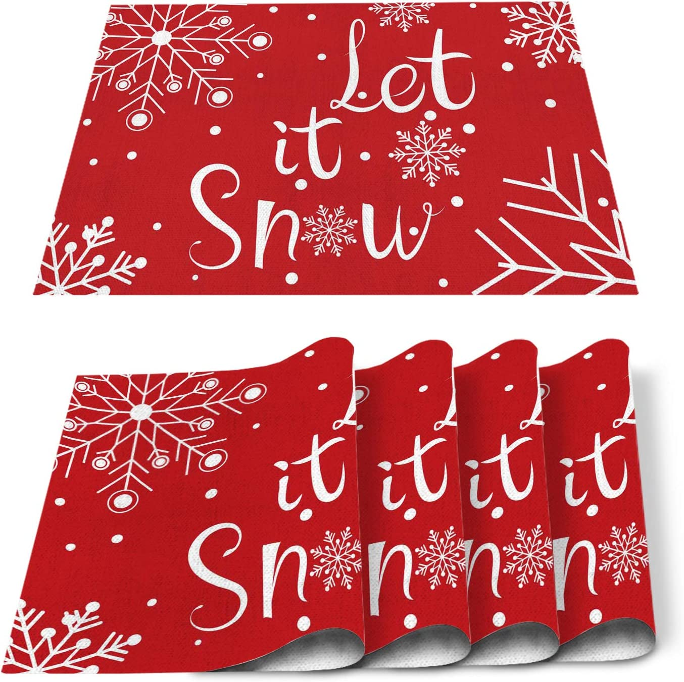 Christmas Placemat For Dinning Table Placemat Set Of 6-Cotton Linen Waterproof Cloth Table Mat-Red Let It Snow Xmas Place Mat,Machine Washable Easy Clean Fabric,Rustic Farmhouse Holiday Dinner Decor