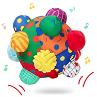 teytoy Baby Music Shake Dancing Ball Toy, Developmental Bumpy Ball Sensory Soft Toys, Easy to Grasp Bumps Help Develop Motor Skills for Girls and Boys Ages 12 Months and Up
