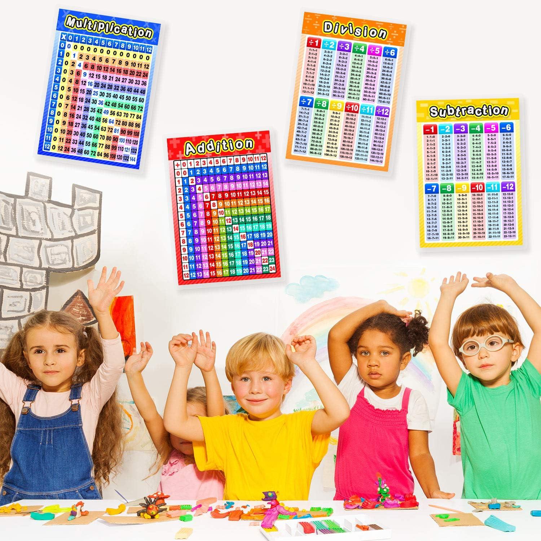 Affiches Math/ématiques /Éducatives Lamin/ées 16,9 x 11,9 Pouces 4 Affiches Lamin/ées Larges Multiplication Division Addition Soustraction avec Points de Colle pour Classe d/'/École Primaire Interm/édiaire