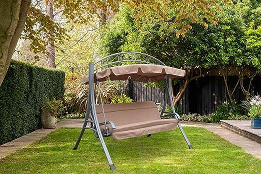 FoxHunter Swing hamaca de jardín Metal 3 plazas banco de muebles silla tumbona acolchada refugio toldo para jardín y exteriores FHSC03 gris: Amazon.es: Jardín