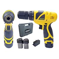 Cheston Cordless Drill Screwdriver Driver 10 mm Keyless Chuck 12V with 2 batteries LED Torch