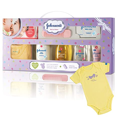 ba572a8dc Johnson's Baby Care Collection Baby Gift Set with Organic Cotton Baby Dress  (8 Pieces): Amazon.in: Baby