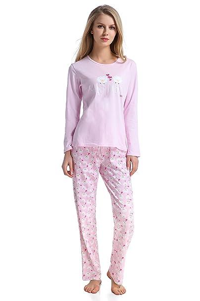 Pijama para mujer conjunto de 2 piezas - 100% Algodón - Pijama de manga larga