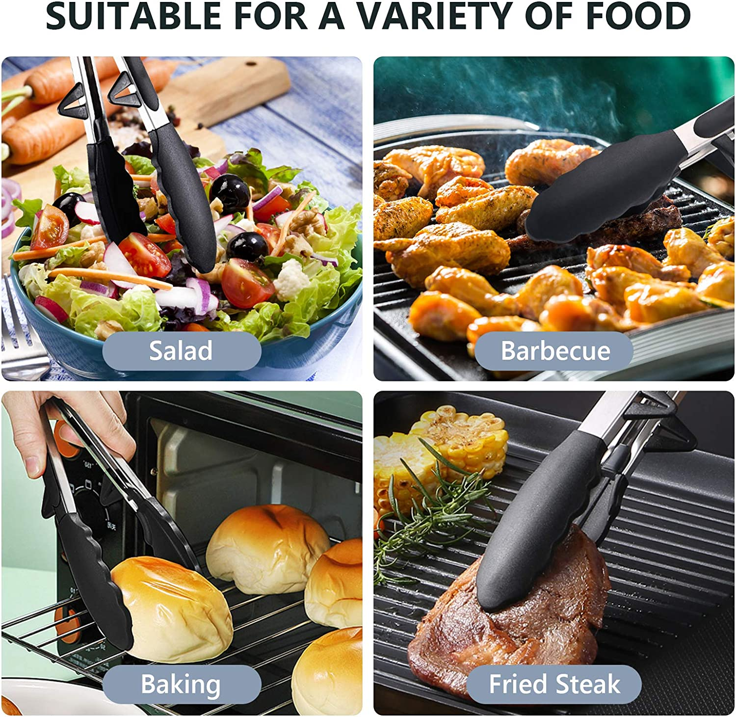 Non-stick Premium Silicone Tips /& Locking Stainless Steel Tongs High Heat Resistant Dishwasher Safe Set 4 Packs for Cooking Salad BBQ Grilling 13 Inch//10 Inch Kitchen Tongs for Cooking Black