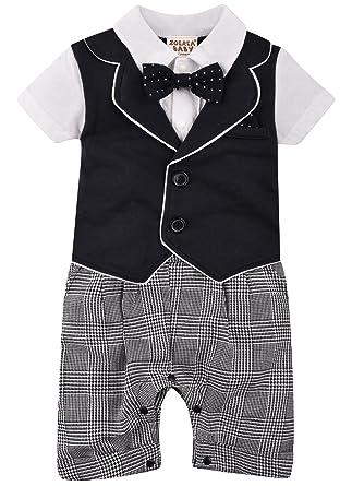 7543567c67af3 Amazon.co.jp: ZOEREA(ゾエレア) ベビースーツ 半袖 蝶ネクタイ付き 95 ...