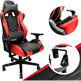 Red Gaming Chair - Adjustable Video Game Chairs with PU Leather, Computer Chair with Lumbar Support & 180° Recline, Easy to A