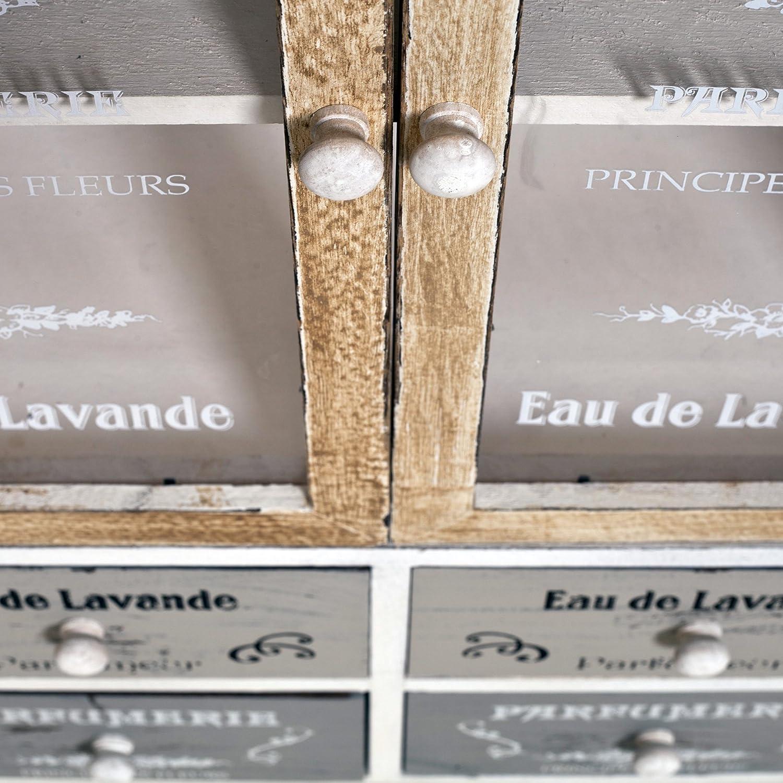 RE4479 81 x 58 x 29 cm H x L x P - Art Rebecca Mobili Chiffonnier Meuble de Rangement Cuisine 4 Tiroirs 2 Portes Bois Blanc Beige Gris Shabby Salon