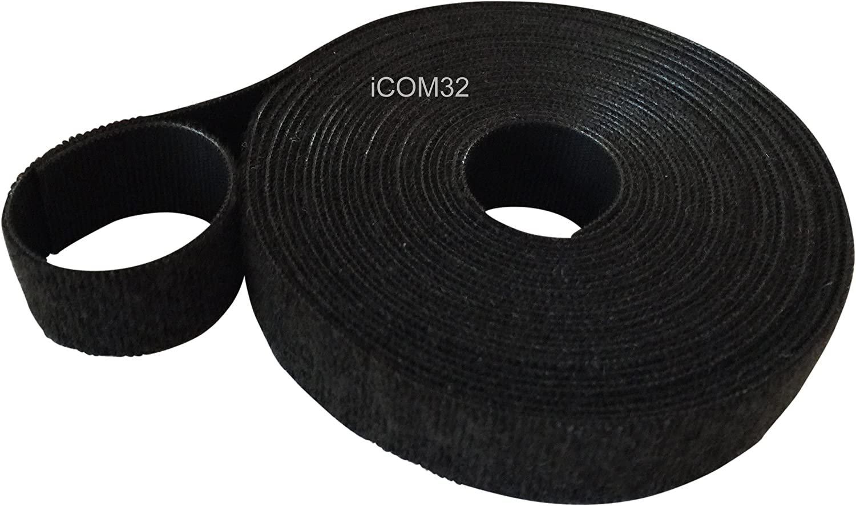 Cinta ONE-WRAP/® a doble cara en color negro de 1/cm de ancho VELCRO/® negro 1 m