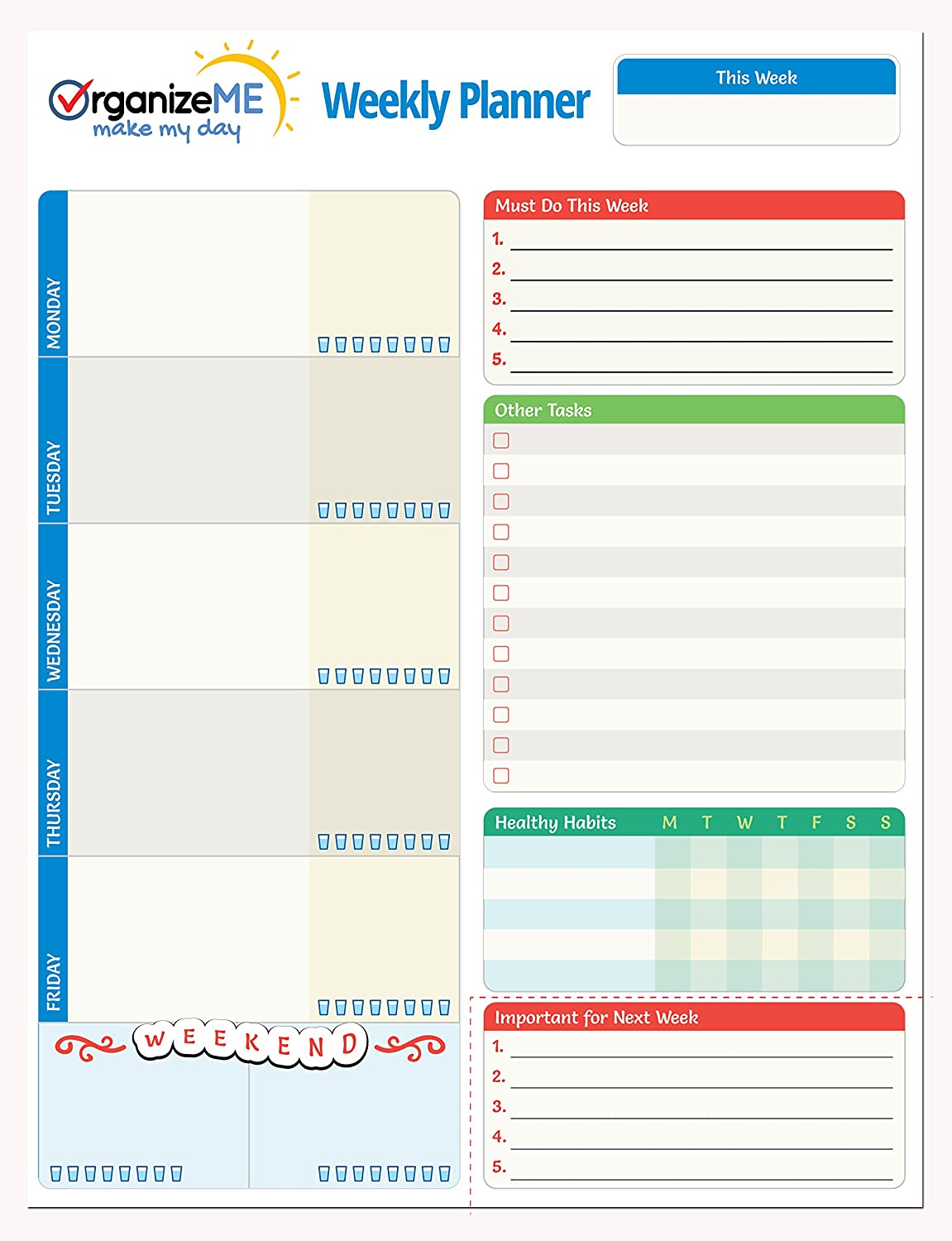 OrganizeME Weekly Planner Pad - Daily Chores & To Do Lists