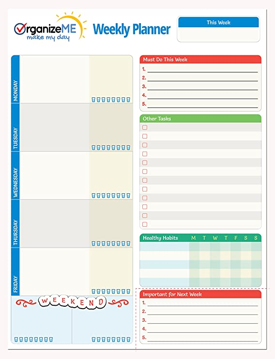 amazoncom organizeme weekly planner pad week calendar organizer for daily chores to do lists easy to tear off bottom 60 pages daily notebook for