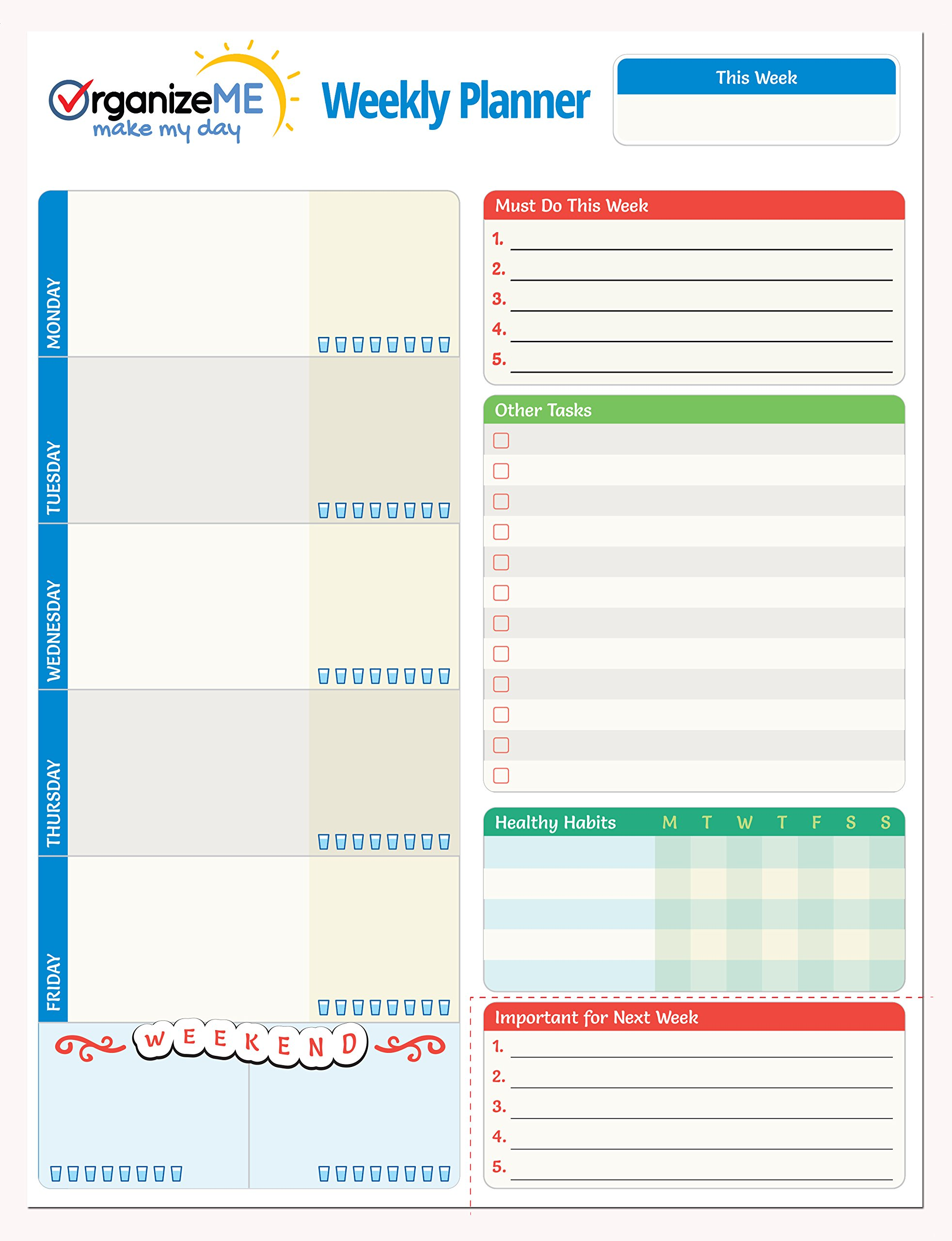 OrganizeME Weekly Planner Pad | Week Calendar Organizer For Daily Chores & To Do Lists | Easy To Tear Off Bottom | 60 Pages Daily Notebook For Meal Planning, Event Going & Healthy Habits Noting
