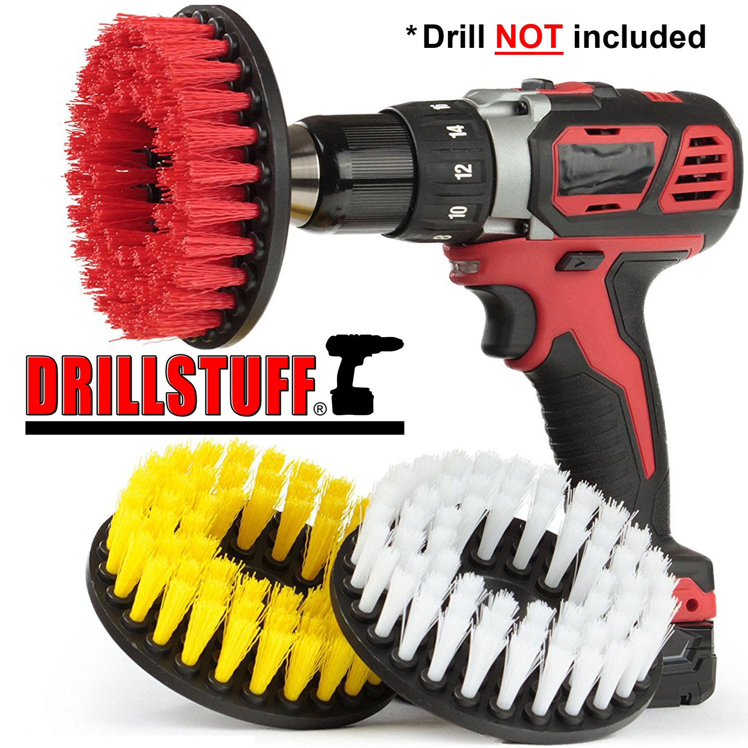 Tile and Grout, Tub, Shower, Sink, Porcelain Drill Powered Cleaning Rotary Electric Brush Kit by Drillstuff