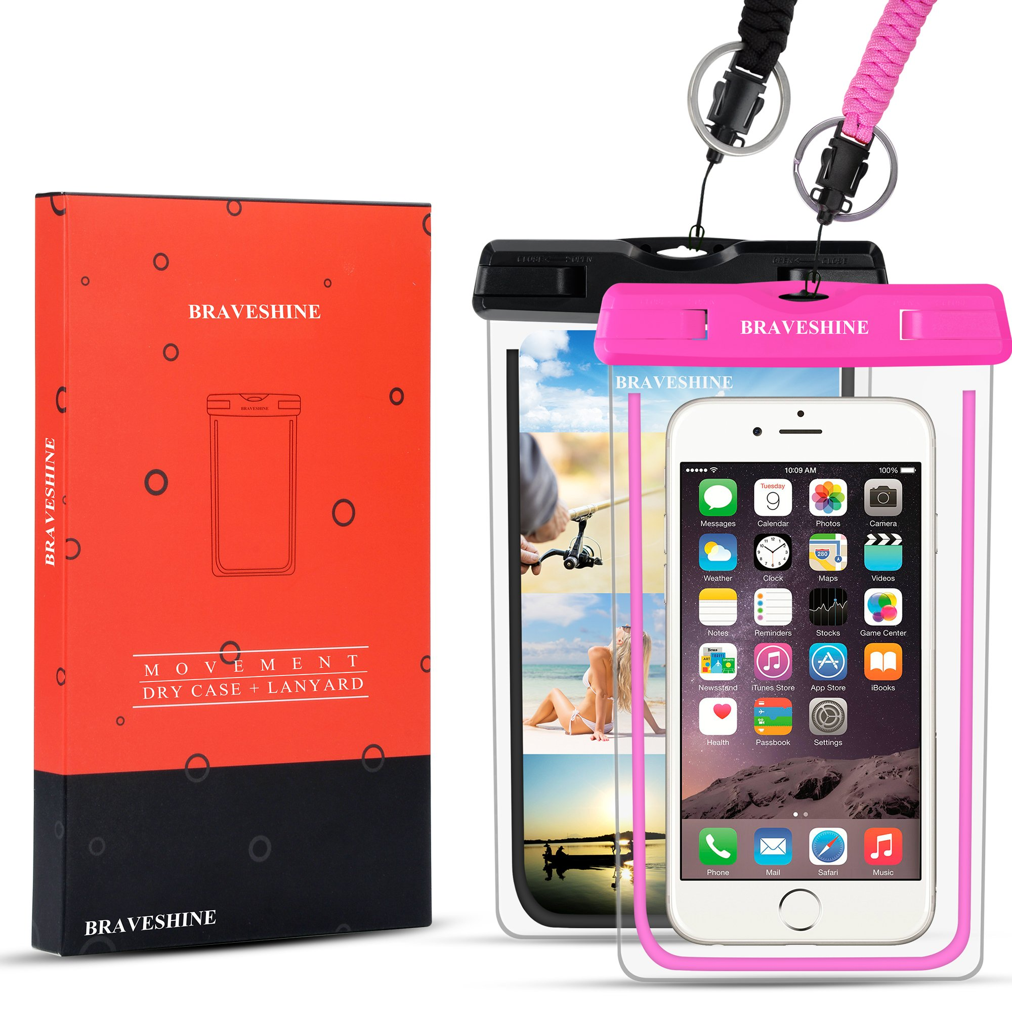 BRAVESHINE Universal Waterproof Case, Underwater Phone Pouch for iPhone X/8/8 Plus/7/6, Galaxy/Google Pixel/LG/HTC - Cellphone Dry Bag for Swimming, Diving, Indoor Outdoor Water Sports - Black + Pink