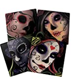 Day Of The Dead Sugar Skull Sisters Coaster Set of 4 By DWK | Decorative Ceramic Coaster Tiles With Cork Backing