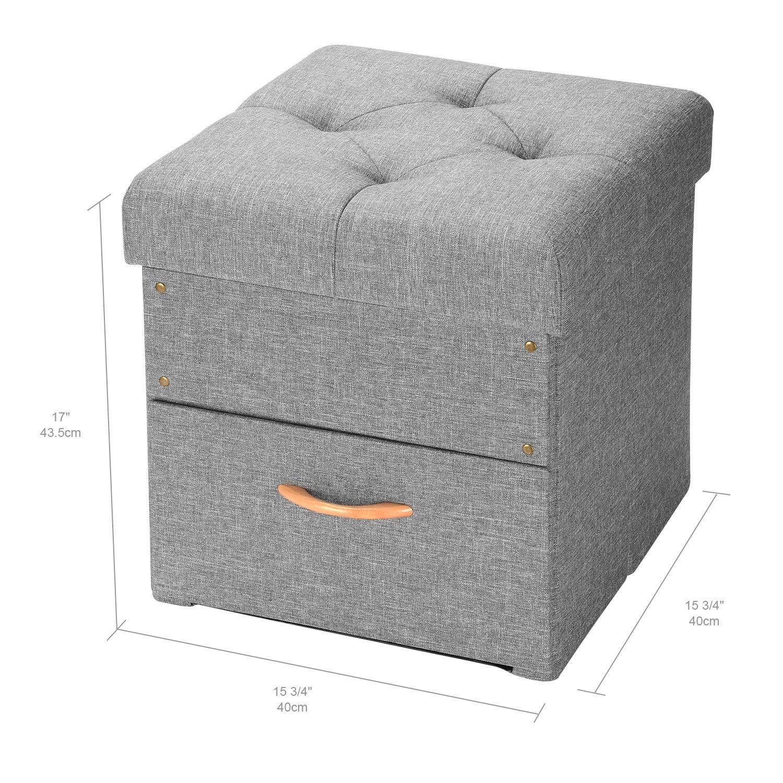Storage Chest Foot Rest Stool Grey, 17x16.5x16.5 SortWise/™ Folding Storage Ottoman with One Drawer