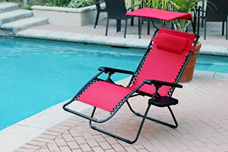 Set of 2 Oversized Zero Gravity Chair with Sunshade and Drink Tray – Red