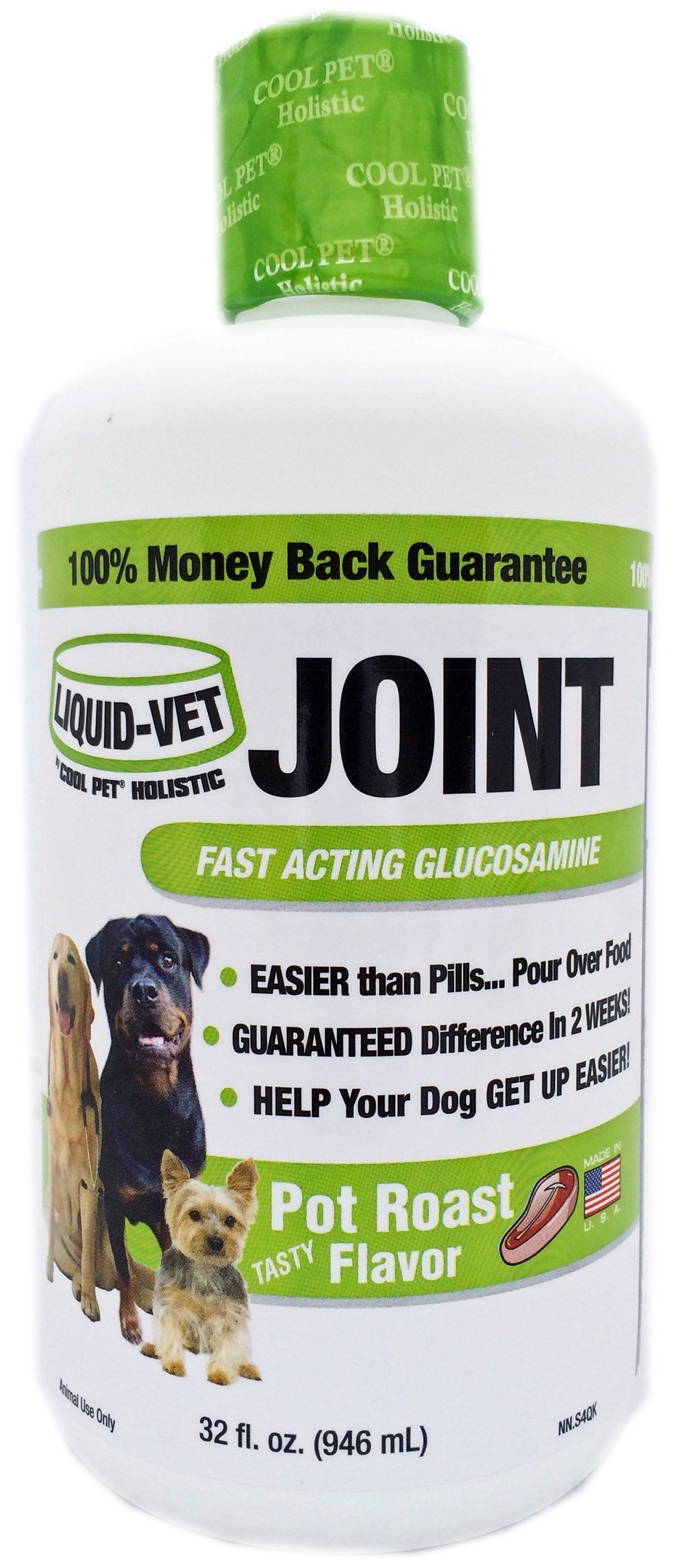 Liquid-Vet Joint Formula – Fast Acting Glucosamine for Joint Aid in Canines – Pot Roast Flavor – Economy Size – 32 Fluid Ounces