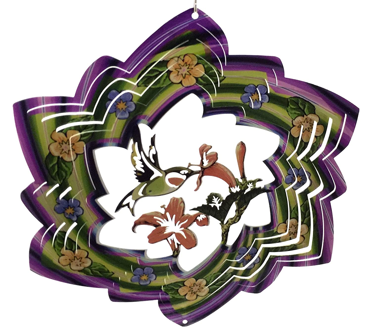 12 inch flower with HUMMINGBIRD Design 3-D Finest details and Highest Detail Zephyr Spiral Wind Spinner Zephyr Spirals