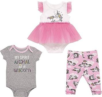 Baby Girls Adorable Pink Unicorn Bodysuit Leggings Socks /& Pink Pram Shoes