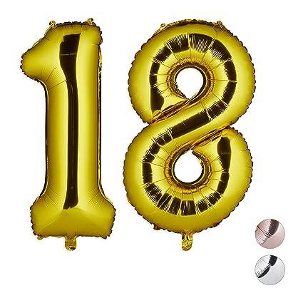 Relaxdays Folienballon Zahl 18, Party Deko für 18. Geburtstag, XXL Riesenluftballon für Luft & Helium, 85-100cm, Gold