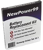 Kit de Reemplazo de la Batería para Samsung GALAXY Tab 10.1 Serie (GALAXY Tab 10.1 GT-P7500, GALAXY Tab 10.1 GT-P7510, GALAXY Tab 10.1 GT-P7513) Tablet con Video de Instalación, Herramientas y Batería de larga duración