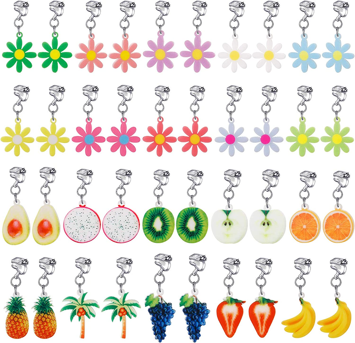 20 Pairs Clip on Earrings Princess Play Jewelry Earrings Set Mermaid Clipons Unicorn Clipon Earring Lollipop Ice Cream Dangle earring Rainbow Eardrop for little girls Toys