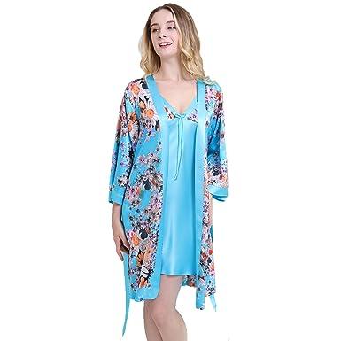 meilleur site web 0353b 78817 Chesslyre Elastic Mulberry Silk Kimono Robe For Women ...