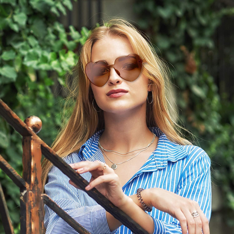 Maxdot Heart Shape Sunglasses Party Sunglasses (Brown): Clothing