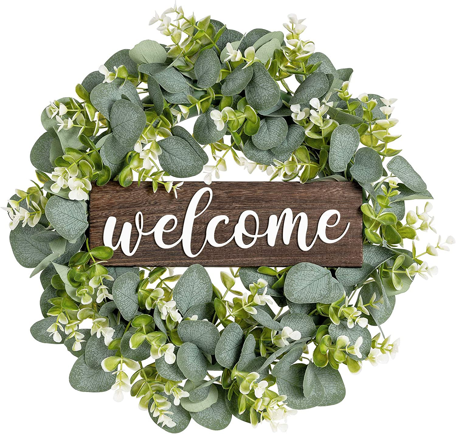 Dahey Welcome Sign with Wreaths Rustic Front Door Decor Wood Hanging Sign with Artificial Eucalyptus 16inch Farmhouse Porch Decorations for Home Wedding Mother,s Day Gift, Medium