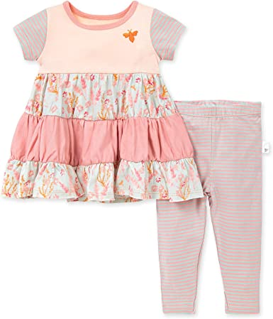 Infant /& Toddler 100/% Organic Cotton Short /& Long-Sleeve Baby Girls Dress Burts Bees Baby