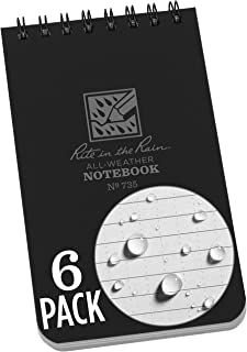 "product image for Rite in the Rain Weatherproof Top Spiral Notebook, 3"" x 5"", Black Cover, Universal Pattern, 6 Pack (No. 735L6)"