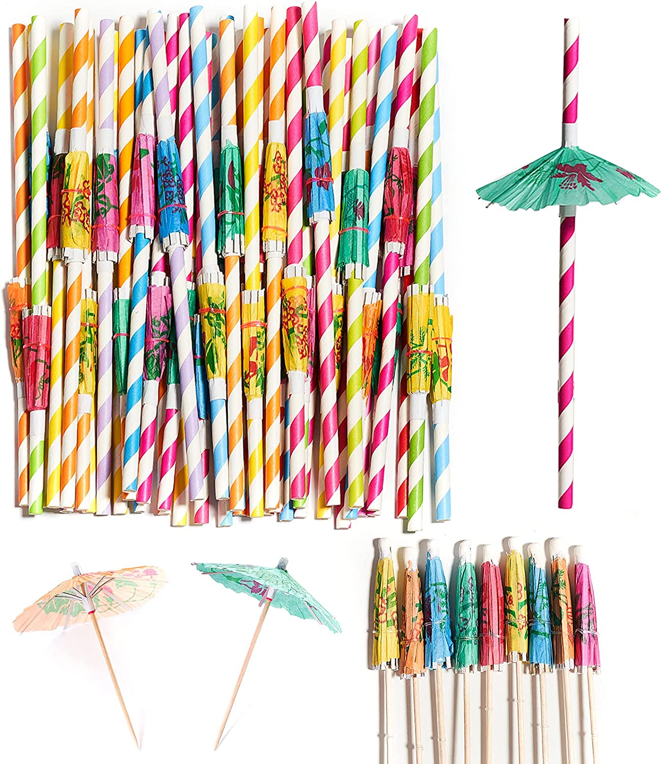 PartyWoo Paper Straws, 60 pcs Straws Drinking and Cocktail Picks Umbrellas, Drink Straws, Cocktail Straws for Luau Birthday Party Decorations, Summer Party, Hawaiian Party, Tropical Party Supplies