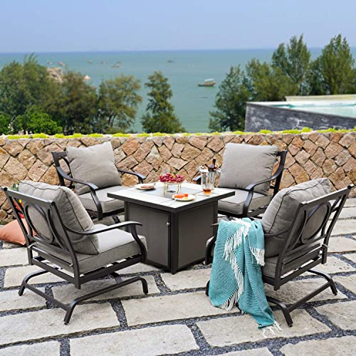 Grand patio 5 PCS Outdoor Furniture Conversation Fire Table Set