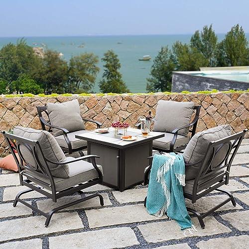 Grand patio 5 PCS Outdoor Furniture Conversation Fire Table Set