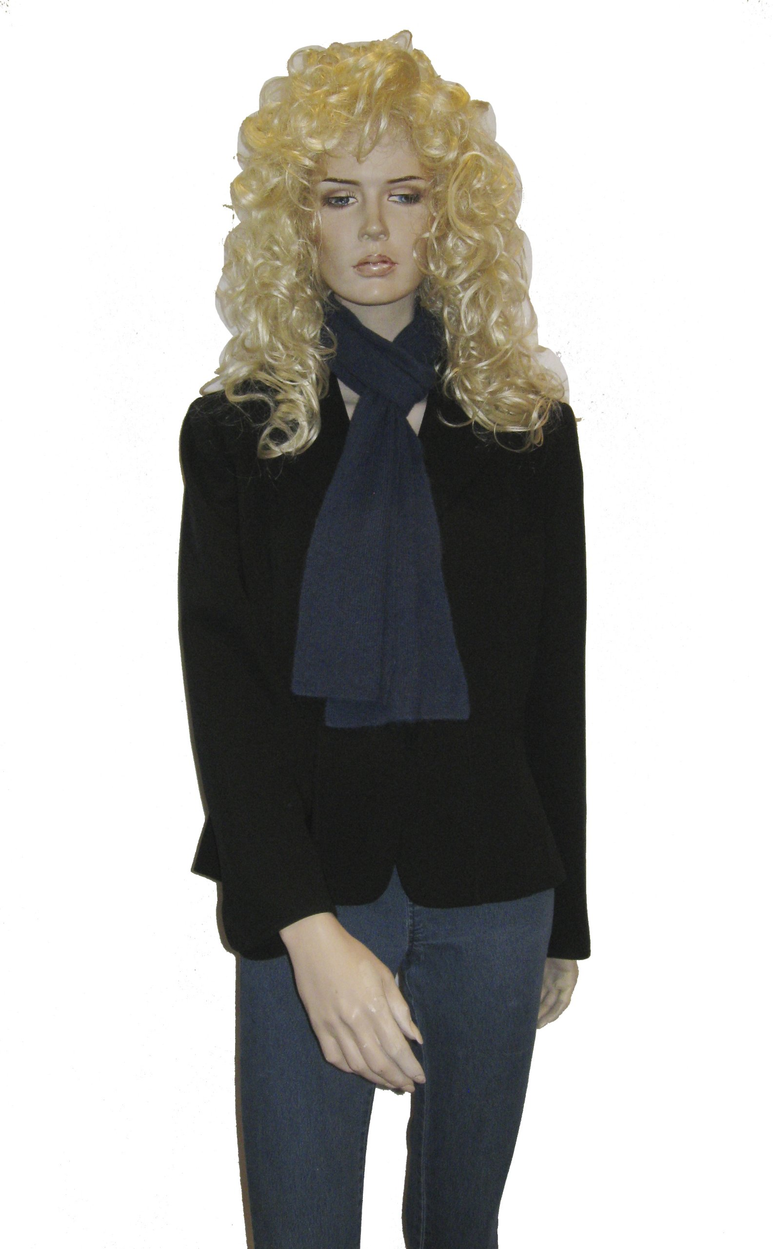 CASHMERE SCARVES- SHAWL - WRAP - STOLE (CASHMERE SWEATER KNIT SCARF) (Navy)