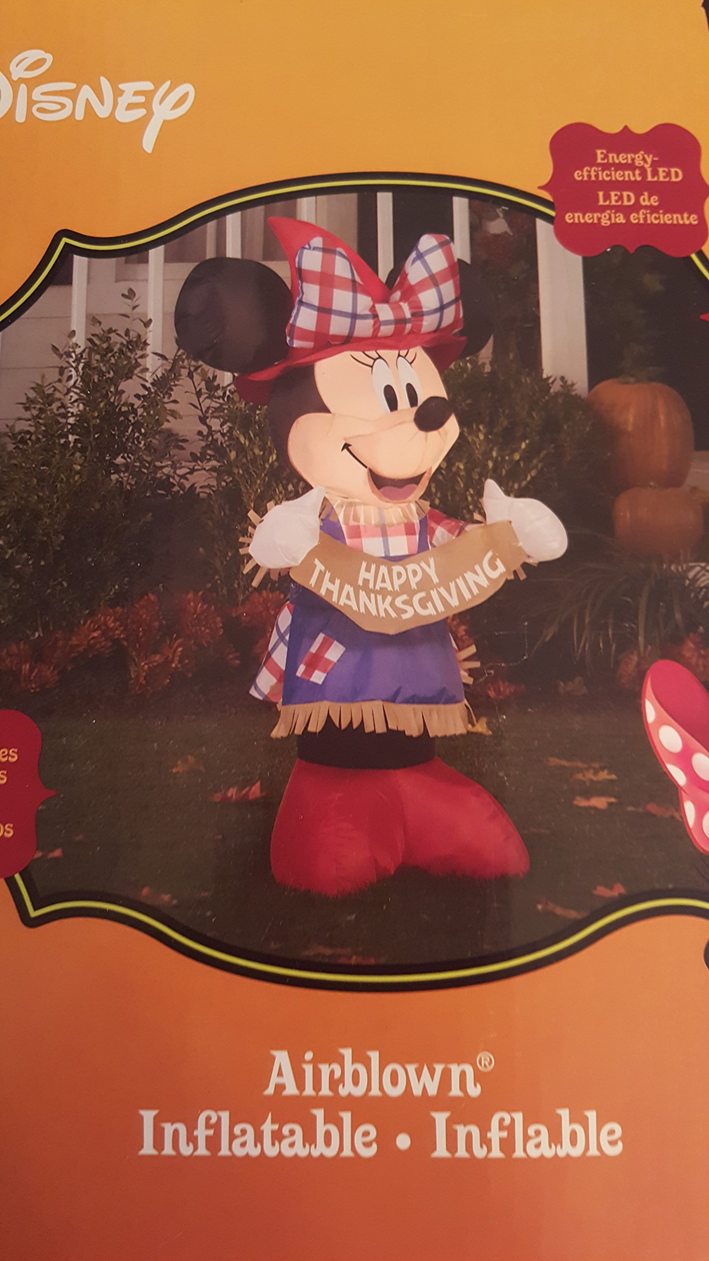 Gemmy Inflateables Holiday 70444 Air Blown Disney Minnie As Scarecrow Decor