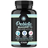 Probiotic Immunity Supplement – Probiotic Infused Multi-Vitamin with Zinc, Chromium, Selenium & Essential Vitamins – Supports Healthy Gut Flora, Digestive Health, and Immune System (1-Bottle)