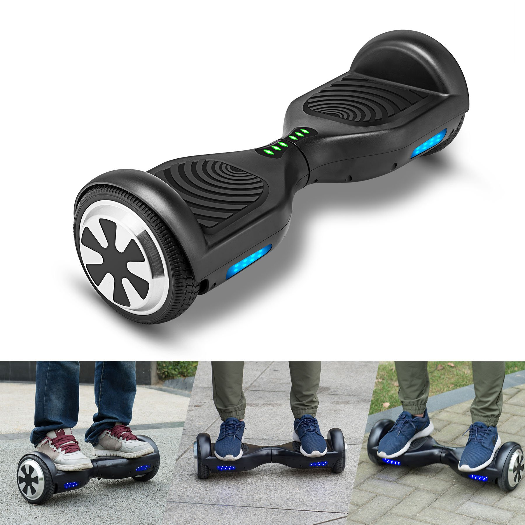 VEEKO Self Balancing Scooter Black Hoverboard with LED Indicator Lights, 350W Dual Motor, UL 2272/2271 Certificate, Alloy Durable Wheels by VEEKO (Image #5)