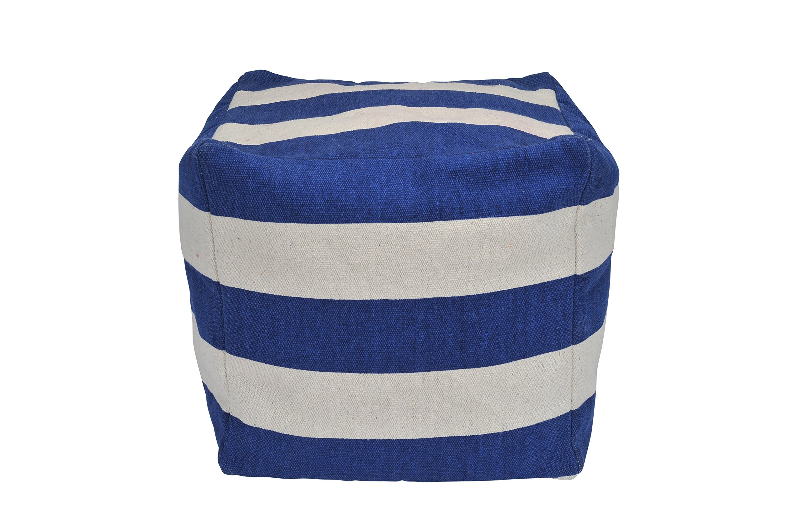 Urban Shop Striped Square Pouf, navy