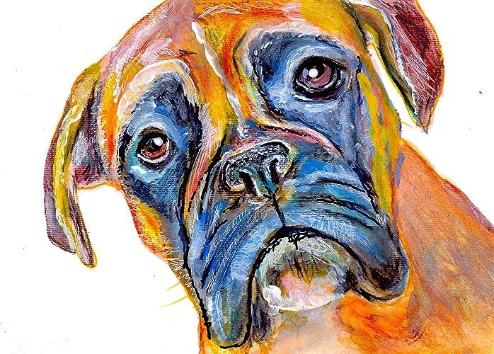 Colorful Brindle Boxer Dog Art, Gift For Boxer Dog Owner, Boxer Mom ...