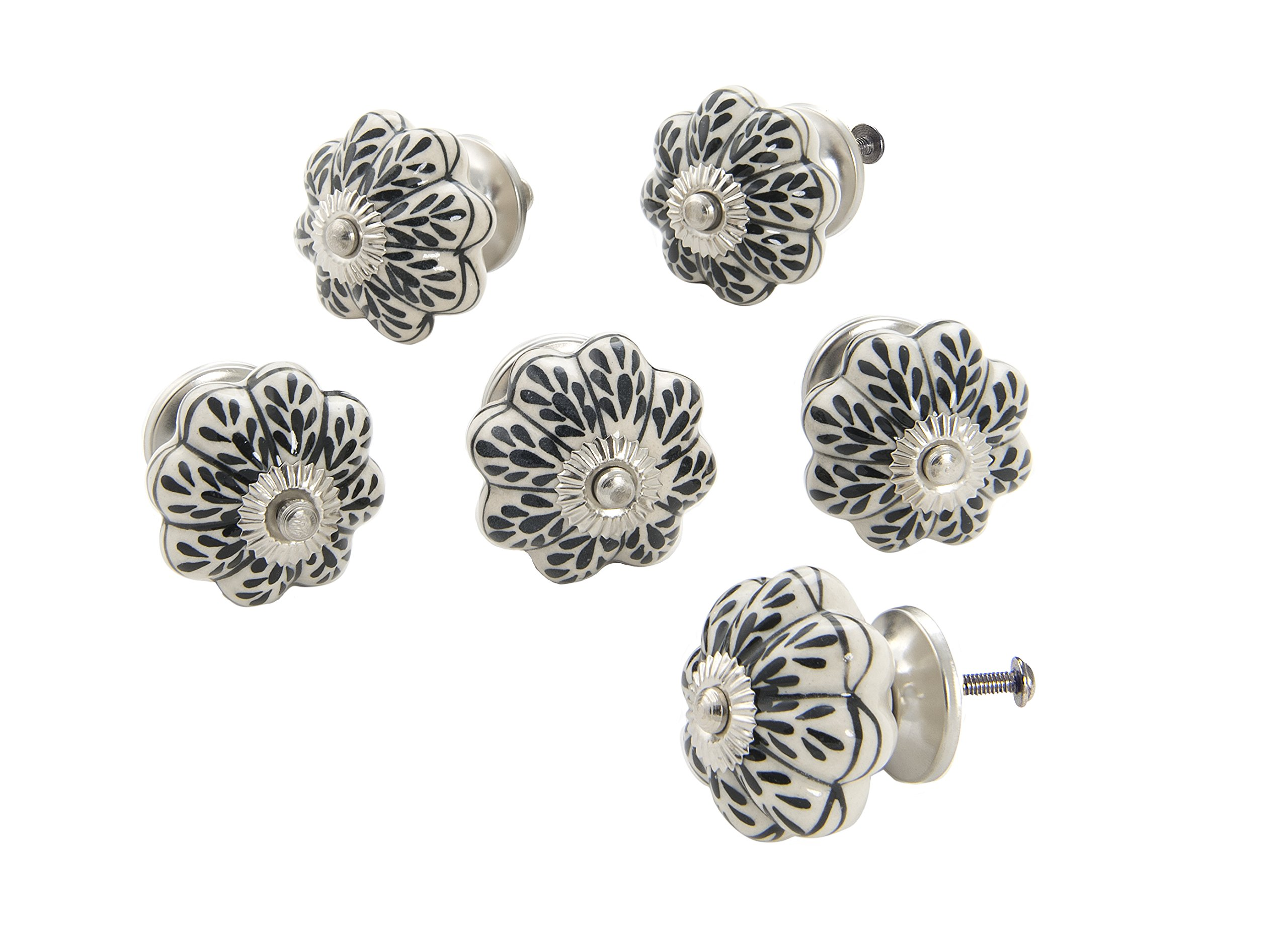Dritz Home 47070A Ceramic Hand Painted Scallop Knob Handcrafted Knobs for Cabinets & Drawers