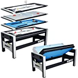 ESPN Multi Game Table 4-in-1 Swivel Combo Game Table, 4 Games with Hockey, Billiards, Table Tennis and Finger Shoot…