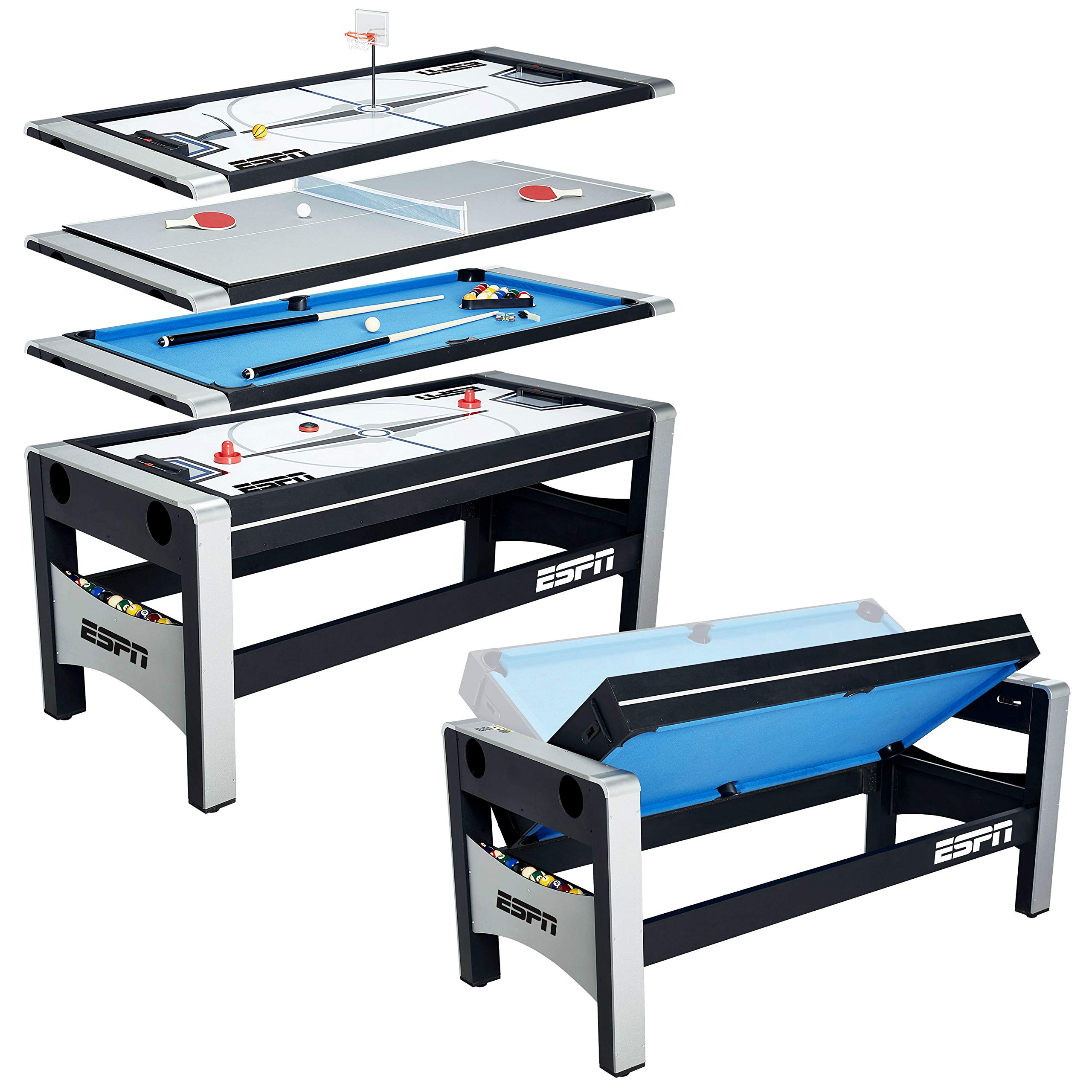 ESPN Multi Game Table 4-in-1 Swivel Combo Game Table, 4 Games with Hockey, Billiards, Table Tennis and Finger Shoot Basketball by ESPN