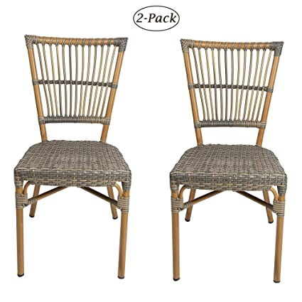 Excellent Amazon Com Luckyermore Patio Rattan Chairs Set Of 2 Ocoug Best Dining Table And Chair Ideas Images Ocougorg