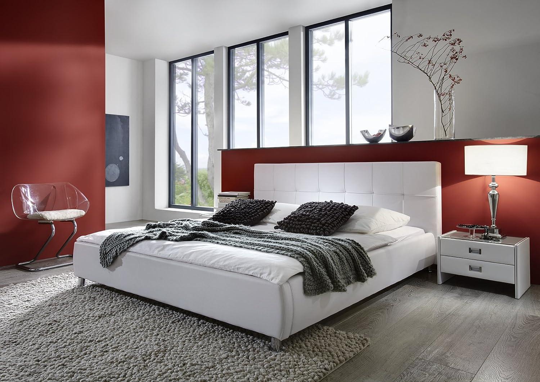 Bett weiß 180x200 modern  SAM® Polsterbett Zarah, weiß, 180x200 cm, Bett mit chrom-farbenen ...